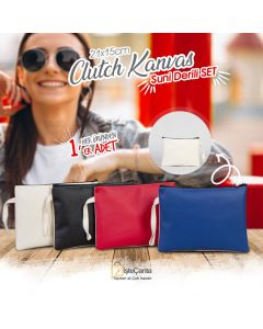 Clutch Kanvas & Suni Deri Set